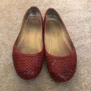 Red Frye flats. Some wear- see pics. Size 9.